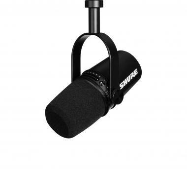 SHURE MV7-K digitális podcast mikrofon, XLR, MicroUSB-TypeC és USB-A kábel, fekete