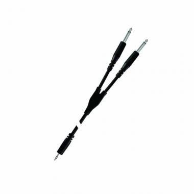 PROEL BULK505LU18 Inzert Y kábel, 1,8 m fekete, 3,5 mm sztereó jack dugó - 2 x 6,3 mono jack dugó, ö