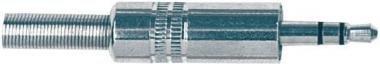PROEL S130 Sztereó 3,5 mm jack dugó nikkellel bevont réz, d: 5 mm rugós kábelrögzítő (5 db/csomag)