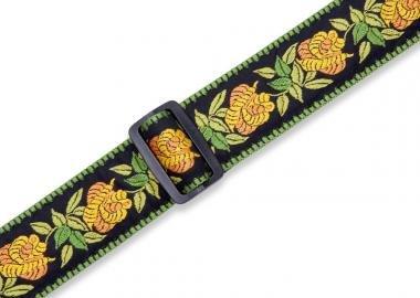 Levy's MC8JQ-004 Gitárpánt, gyapjú, pamut, 5cm széles, 152cm hosszú, sárga virág minta feketével